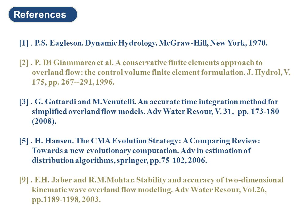 References [1] . P.S. Eagleson. Dynamic Hydrology. McGraw-Hill, New York, 1970.